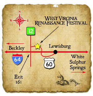 Map to the West Virginia Renaissance FEstival